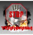stop terror hand and kalashnikov machine gun in vector image vector image