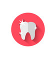 tooth icon isolated in flat design style vector image