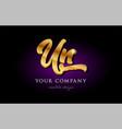 Un u n 3d gold golden alphabet letter metal logo vector image