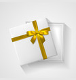 white open gift box with bow and ribbon top view vector image vector image
