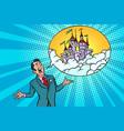 confident businessman offers a fabulous castle in vector image