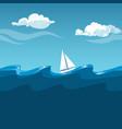 sea white sailboat on big waves vector image