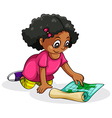 A Black young girl studying vector image vector image