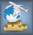 airline transport globe box vector image