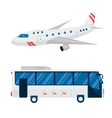 Airplane and bus vector image vector image