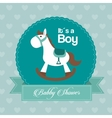 Baby Shower design horse icon Blue vector image vector image