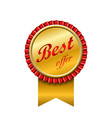 best offer award ribbon icon gold red sign vector image vector image