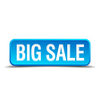 big sale blue 3d realistic square isolated button vector image vector image