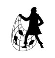 black silhouette a fisherman with fishnet vector image
