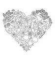 christmas design in the shape of heart vector image vector image