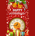 christmas holiday bell and gift greeting card vector image vector image