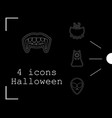 collection of 4 halloween icons in thin line style vector image vector image