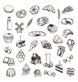 Confectionery sketches of icons set vector image vector image