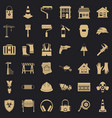 construction shield icons set simple style vector image vector image
