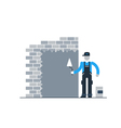 Construction worker finishing brick wall vector image vector image