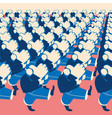 crowd of marching people with like sings vector image vector image