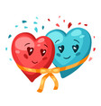 cute couple hearts in love valentine day vector image