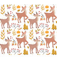 cute fawn in autumn forest seamless pattern vector image vector image