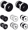 dumbbell black white symbol vector image