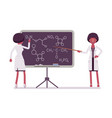 female black scientist at blackboard vector image vector image