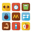 Flat Sport and Fitness Squared App Icons Set vector image vector image
