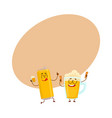 funny beer can and mug characters having fun vector image vector image