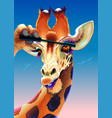 giraffe is applying the mascara on her eyelashes vector image
