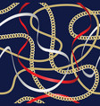 golden chains seamless pattern on blue background vector image vector image