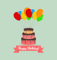 happy birthday cake with balloons and lettering vector image vector image