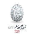 happy easter easter egg with doodle texture vector image vector image