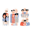 happy grandparents with grandchildren set hand vector image vector image