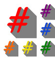 hashtag sign set of red orange vector image vector image