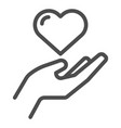 heart in hand line icon love in arm vector image