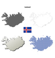 Iceland outline map set vector image vector image
