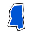 isolated map of the state of mississippi vector image vector image