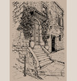 italy tuscany old stone house digital sketch vector image