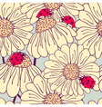 Ladybug and daisy seamless pattern vector image vector image