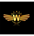 Letter W winged crests logo Alphabet logotype vector image vector image