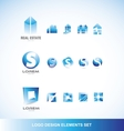 Logo design elements icon set blue vector image vector image
