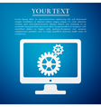 Monitor and gears flat icon on blue background vector image vector image