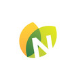 n letter leaf overlapping color logo icon vector image vector image