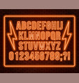 neon orange font bright capital letters with vector image vector image