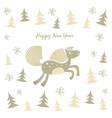 New Year card with a running horse vector image vector image