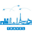 ravel and tourism and transport the landmarks of vector image vector image