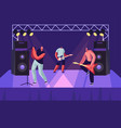 rock band performing musical concert on stage vector image vector image