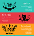 rock-themed set of posters with colorful backdrops vector image vector image