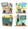 school icons with teacher and student at classroom vector image