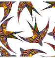 Seamless decorative tribal pattern with swallows vector image vector image