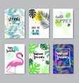 set enjoy summer flamingo badge isolated vector image vector image