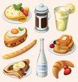 set french breakfast elements vector image vector image